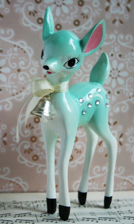 Adorable s vintage style aqua rhinestone deer ornament