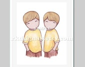 Twin boys nursery art print, boys room decor art for baby boy nursery decor, boys art, best friends, Gemini, blonde - The Boys 8 x 10 print