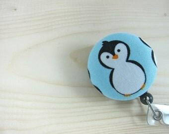 Retractable Badge Holder / ID Badge Reel Gifts for Teachers Nurses - Penguin on Blue