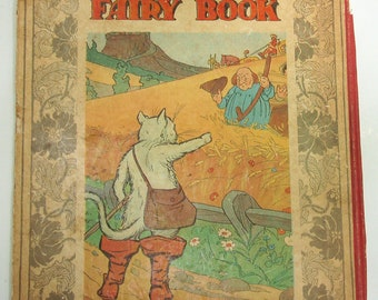 Hardcover Vintage Children's Book, Front Cover ONLY to Frame, Vintage Fairy Book, Vintage Puss In Boots, Vintage Kids Room Decor