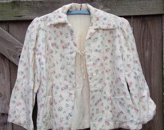 Vintage Bed Jacket -- 1960s Vintage Nanette Quilted Bed Jacket, Floral Pattern