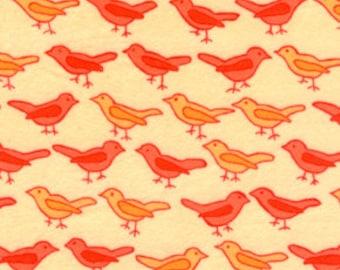 Birds Tangerine Bliss by Valori Wells Flannel Fabric 1 yard