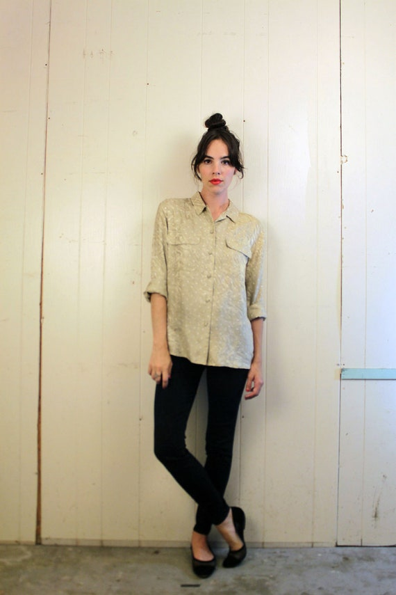 1980s SILK Champagne Button Up Blouse Size S-M