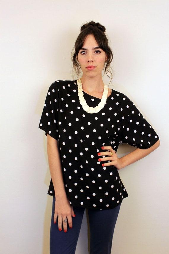 1990s Black and White Polka Dot Shirt Size M