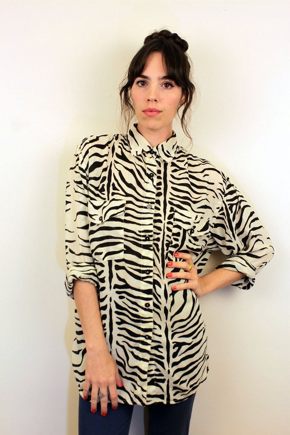 1990s Sheer Zebra Button Up Blouse Size S-M