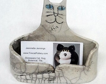 Cat Business card Holder: hand made  Raku fired black gray white pottery desk art One of a kind