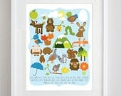 Woodland ABC Art Print in your choice of 8x10 or 5x7 inches - Children's Nursery Print for Boy or Girl