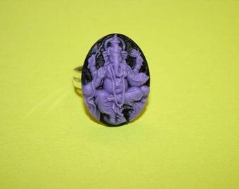 Medium Purple Ganesh Cameo Ring