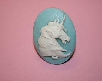 SALE Large Light Blue Unicorn Cameo Ring