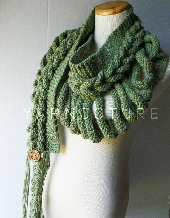 Knitting Pattern Braided Scarf : Rapunzels LADDER Fiber Art Scarf / Braided Scarf / High