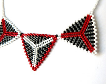 Beadwork Necklace Bead Woven Jewelry Triangle Necklace Red Black Grey White Geometric Jewelry  Made To Order