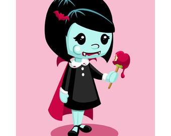 She's My Vampire Girl - Cute Halloween Vampire Candy Apple 8x10 Print by Geri Shields