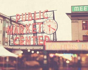 large Seattle wall art, Pike Place Market poster, Seattle photo, red, bokeh, urban city home decor, Pacific Northwest art, 30x30 print