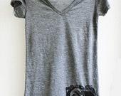 Camera T-Shirt - V Neck Heather Burnout Tunic Shirt -  Womens size small