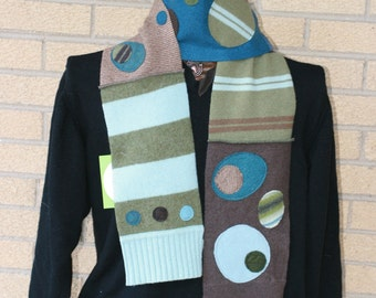 Upcycled Sweater Scarf made from recycled wool in aqua and green, dots and stripes