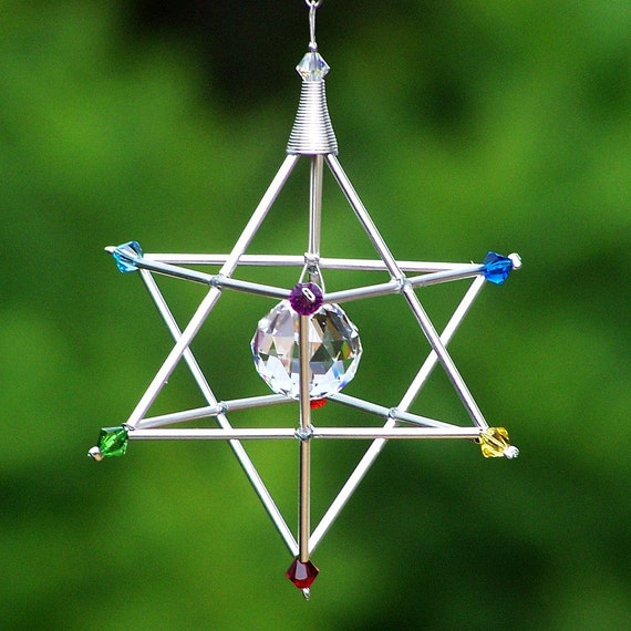 7 Chakras Merkaba Suncatcher / Pendulum - SWAROVSKI - Silver Tones