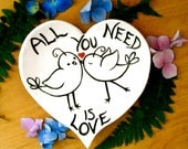 """Ring Bowl - """"ALL You Need Is LOVE"""" Beatles Quote Heart Shaped Dish - Love Birds Modern Wedding Ring Bearer Pillow - Vow Renewal, Anniversary"""
