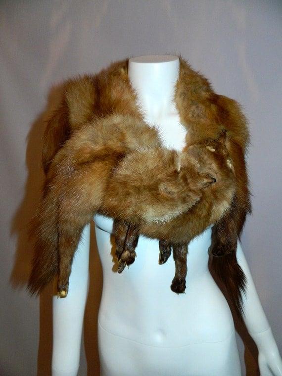 Sale vintage 1950s mink stole fur 50s shawl collar scarf - Stoel fur ...
