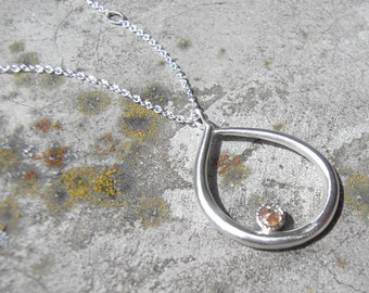 Diamond Maternity Necklace in Recycled 14k White, Handmade Teardrop, Organic necklace