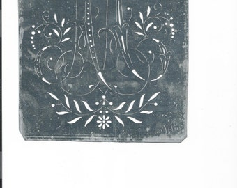 Antique Tin Stencil Two Letters Larger in Size, Many Initials Available