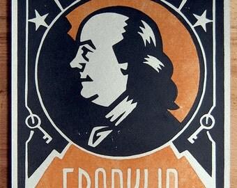 Art Deco Portrait of BENJAMIN FRANKLIN - Lino Block Print