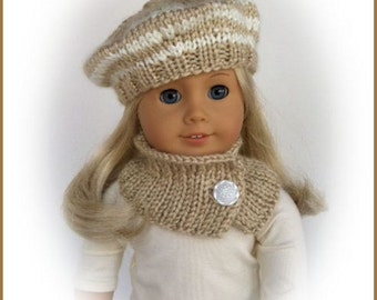 Hand Knit Beret and Cowl Made To Fit American Girl, Beige and Ivory, 18 Inch Doll Clothes