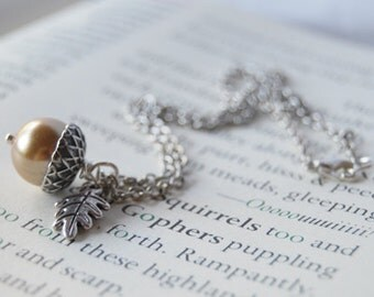 Honey and Silver Acorn Necklace