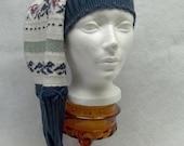 Long winter hat, dark blue winter hat, tassel winter hat, women winter hat, men winter hat, unisex winter hat, eco friendly