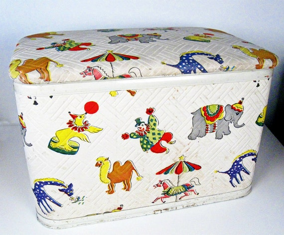vintage circus toy box Gay Time by Pearlwick - 1950s