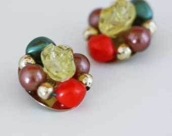 Colorful Bead Bauble Earrings - Vintage Costume Jewelry - Clip On Earrings - Retro Mid Century Estate Jewelry - Multi Colored Earrings