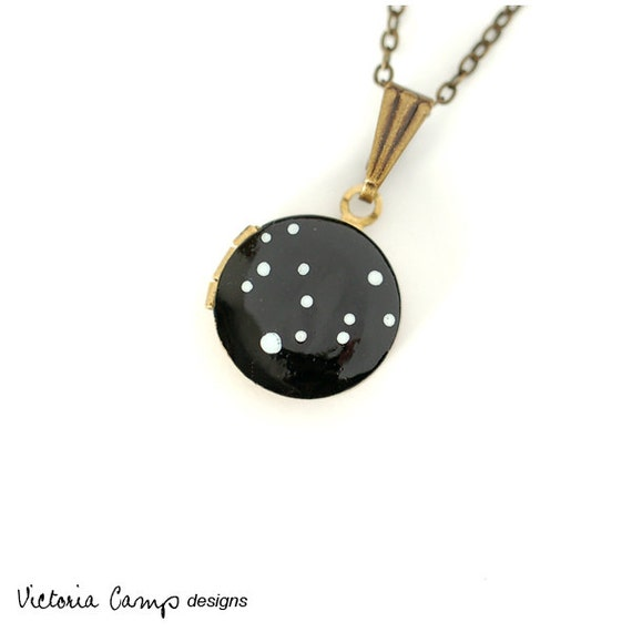 Virgo Zodiac Constellation Necklace on Vintage Tiny Locket - Hand Painted - August September Birthday, Virgo the Virgin Star Symbol