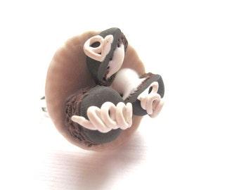 Hostess Cupcake Ring, Miniature Food Jewelry, Polymer Clay Food Jewelry