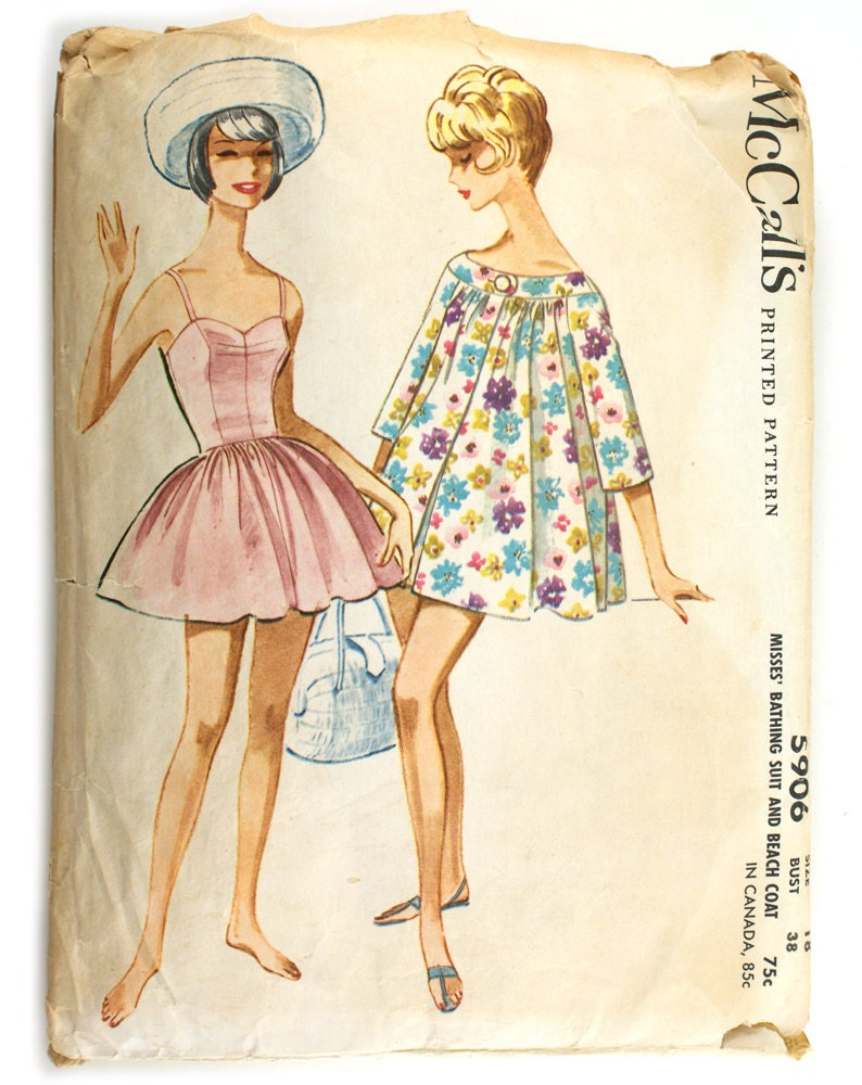 McCall's 5906 Vintage 1960s Bathing Suit Pattern