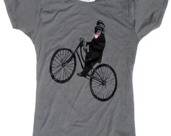 Womens Bicycle T Shirt, Monkey on Bike, in Grey