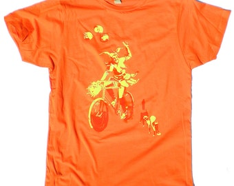 Mens bike T-shirt, The Jester and the Two Cats, in orange