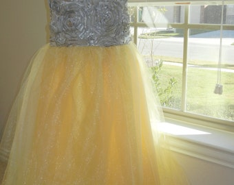 Flower Girl Dress, Junior Bridesmaid, Yellow and Gray Flower Girl Dress, Tulle Flower Girl Dress, Knee, Tea or Floor Length 2T - 16.