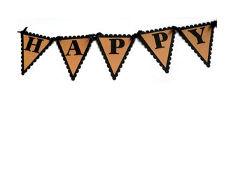 Happy Birthday Pennant Banner - Black and Kraft Brown or Your choice of colors