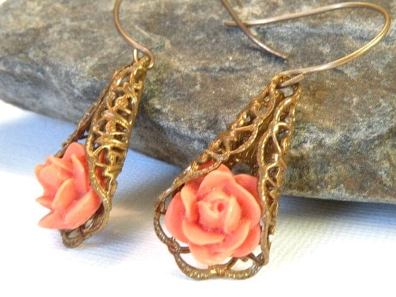 SALE *Rose, Vintage, Patina, Gold Filigree Earrings, Unique, floral lacy, pretty, gift, pendant pink, peach, jewelry, Handmade in Santa Cruz