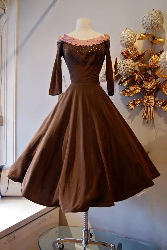 50s Dress 50s Cocktail Party Dress Vintage 1950s Silk