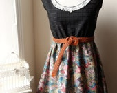 Floral Paisley Dress in Black Plum Mustard and Kingfisher Blue with Lace M L