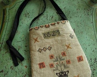 Primitive Cross Stitch Pattern - Folksy Ditty Bag
