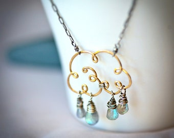 """Small """"Life Giving"""" Cloud - Gold Fill  Wire and Labradorite Teardrops Necklace"""
