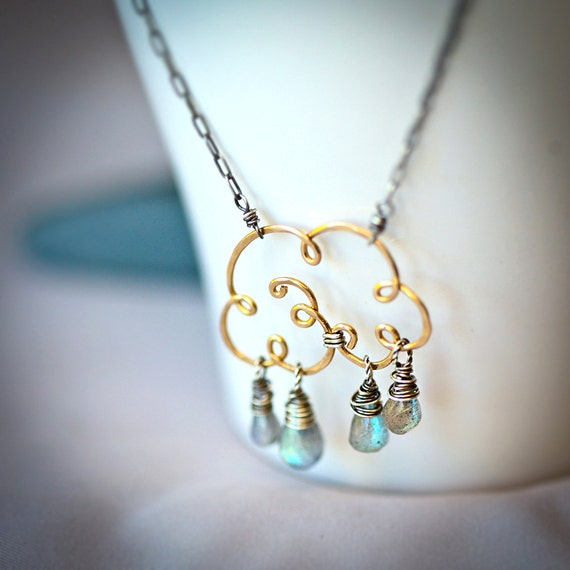 "Small ""Life Giving"" Cloud - Gold Fill  Wire and Labradorite Teardrops Necklace"