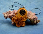 Brass Steampunk Octopus Necklace, Handmade Polymer Clay Sea Life Jewelry