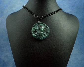 Dark Green Small Cthulhu Cameo Necklace with Chain, Polymer Clay Fashion Jewelry
