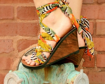 High Wedge Ribbon Thong Sandal by Mohop   Handmade Shoe with 5 Interchangeable Ribbons