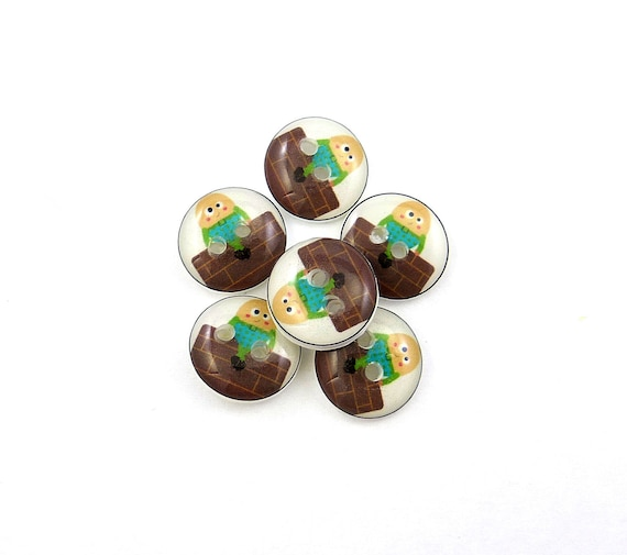 SMALL Humpty Dumpty buttons. 6 Nursery Rhyme Buttons.  Children's Sewing Buttons.