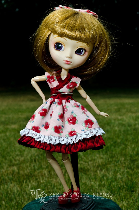 Red Hibiscus Kimono Inspired Casual Dress for Groove Pullip