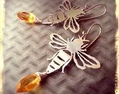Queen Bee Earrings in Sterling with Citrine