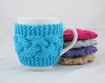 Turquoise Hand Knit Coffee Mug Cozy Cable Stitch